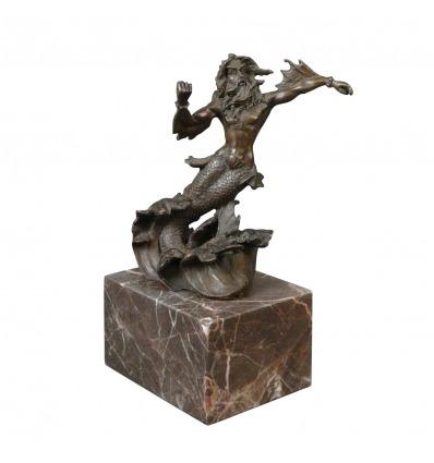 Estatua de bronce de Poseidón, Neptuno, mitología griega -