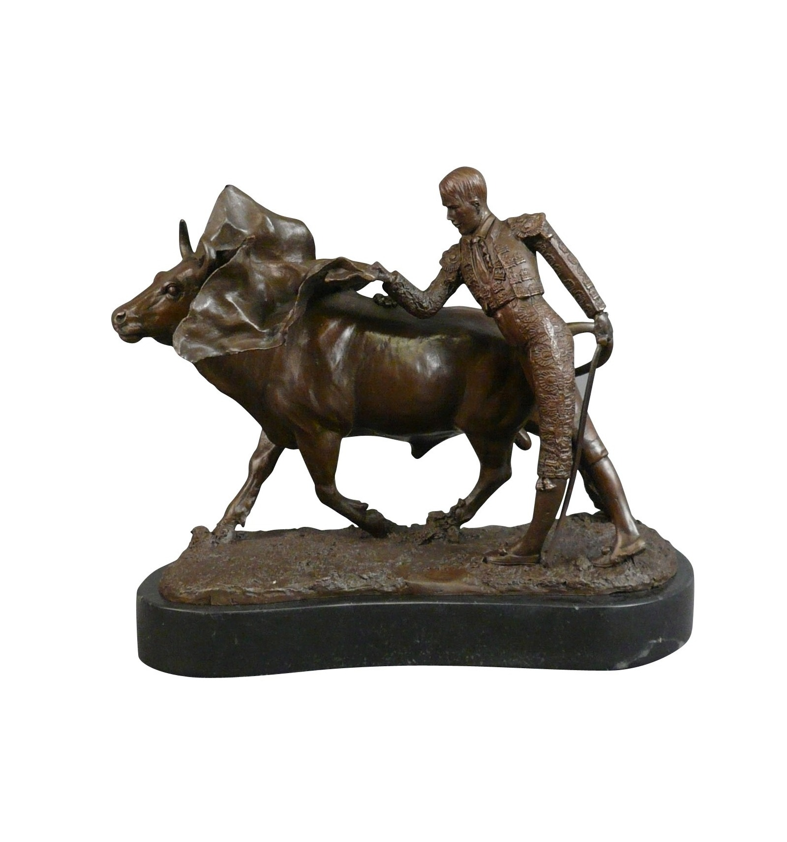 la corrida sculpture en bronze de torero taureaux et chevaux. Black Bedroom Furniture Sets. Home Design Ideas
