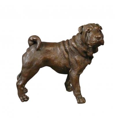 Estatua de bronce de un perro, animal y esculturas de caza. -