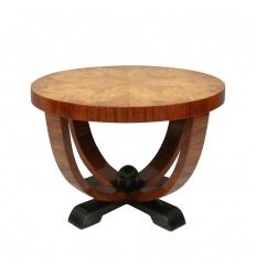 Table art deco top by magnifying glass of elm