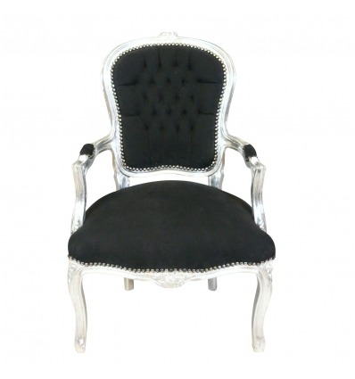 Louis XV armchair baroque black and silver - Louis XV armchairs -
