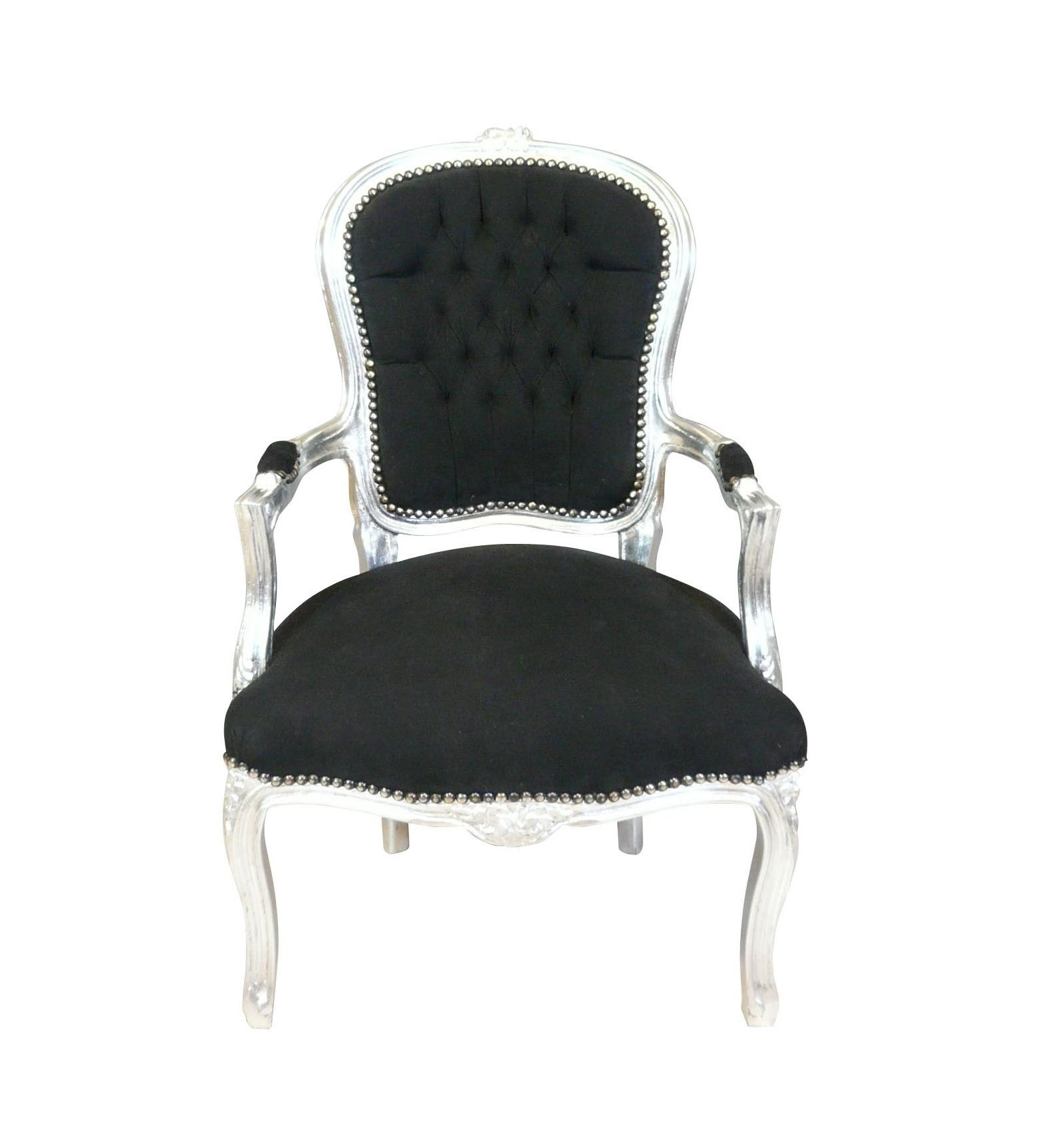 fauteuil louis xv baroque noir et argent fauteuils louis xv. Black Bedroom Furniture Sets. Home Design Ideas