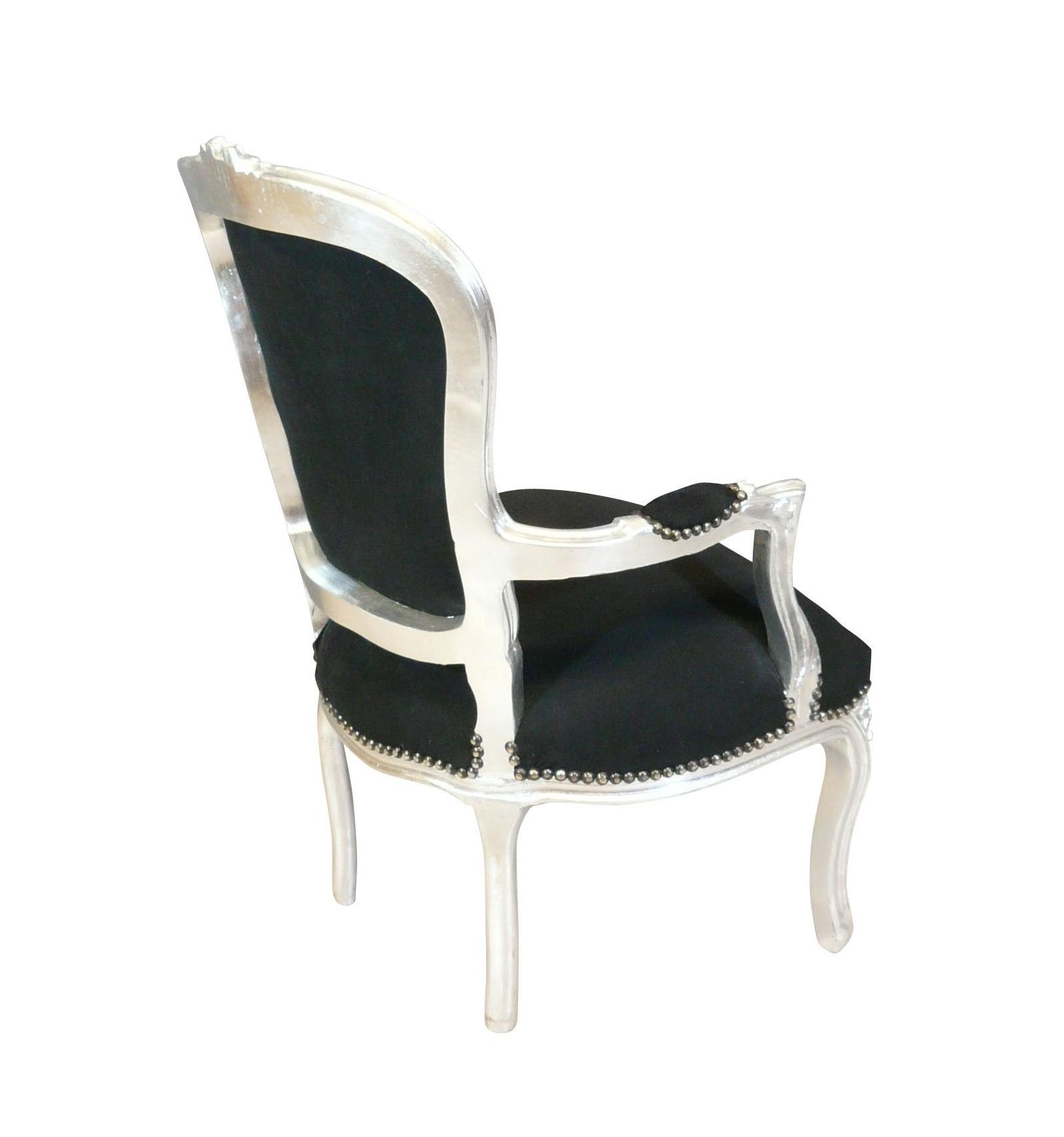 louis xv sessel barock schwarz und silber m bel und. Black Bedroom Furniture Sets. Home Design Ideas