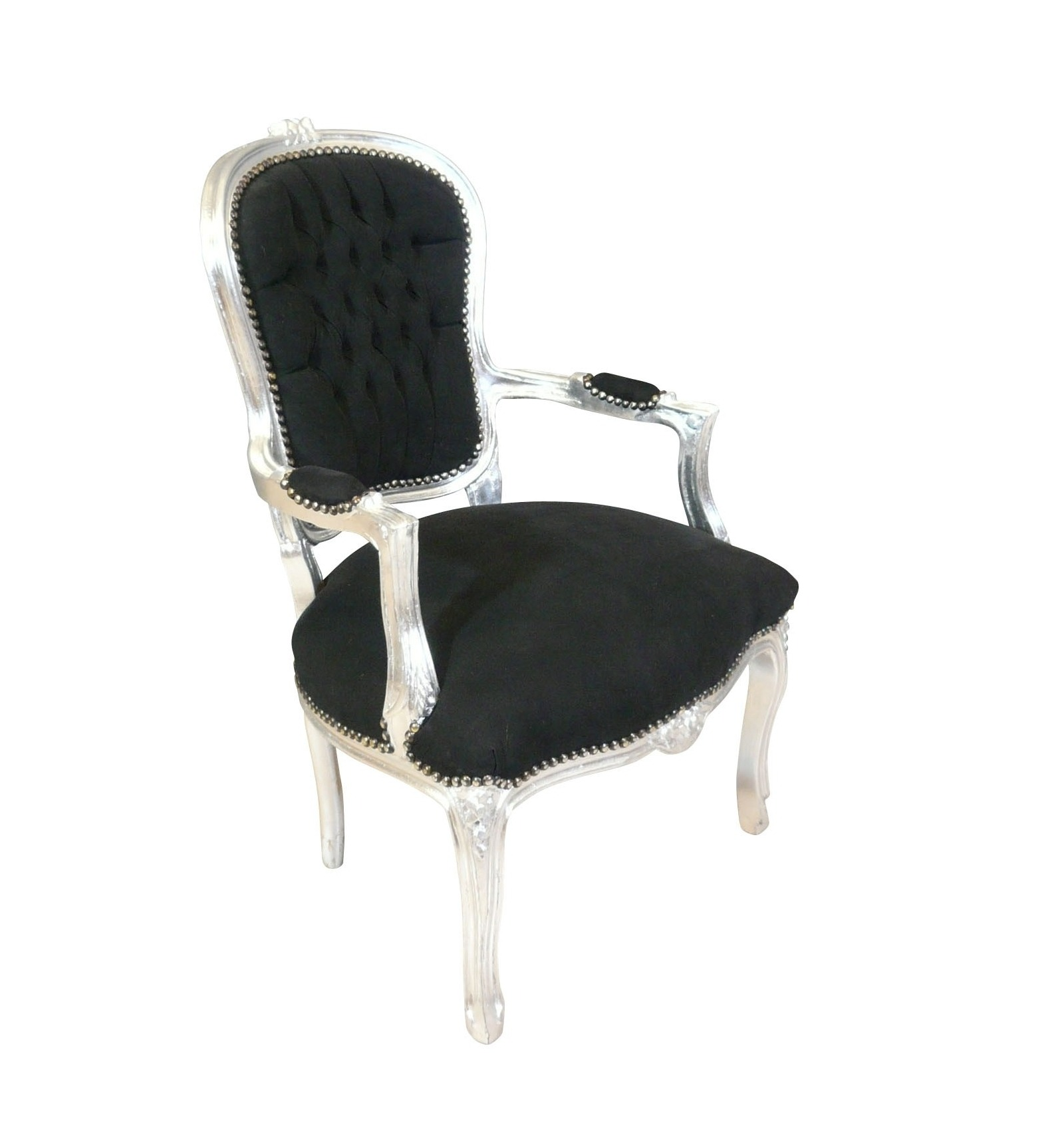 Louis XV Armchair Baroque Black And Silver   Louis XV Armchairs