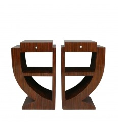 Bedside tables art deco inlaid rosewood