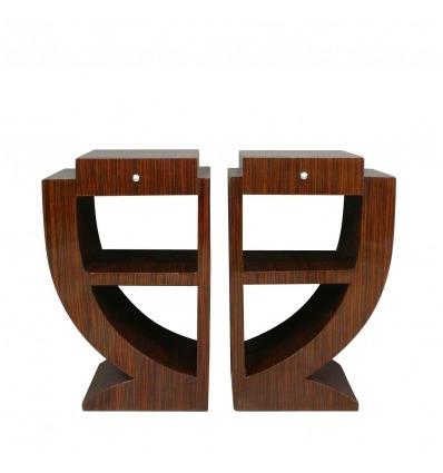 Art deco nightstands in dark rosewood, 1920 style furniture -