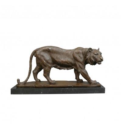 Brons tiger staty -