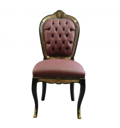 Chaise Louis XV en marqueterie Boulle, mobilier de style. -
