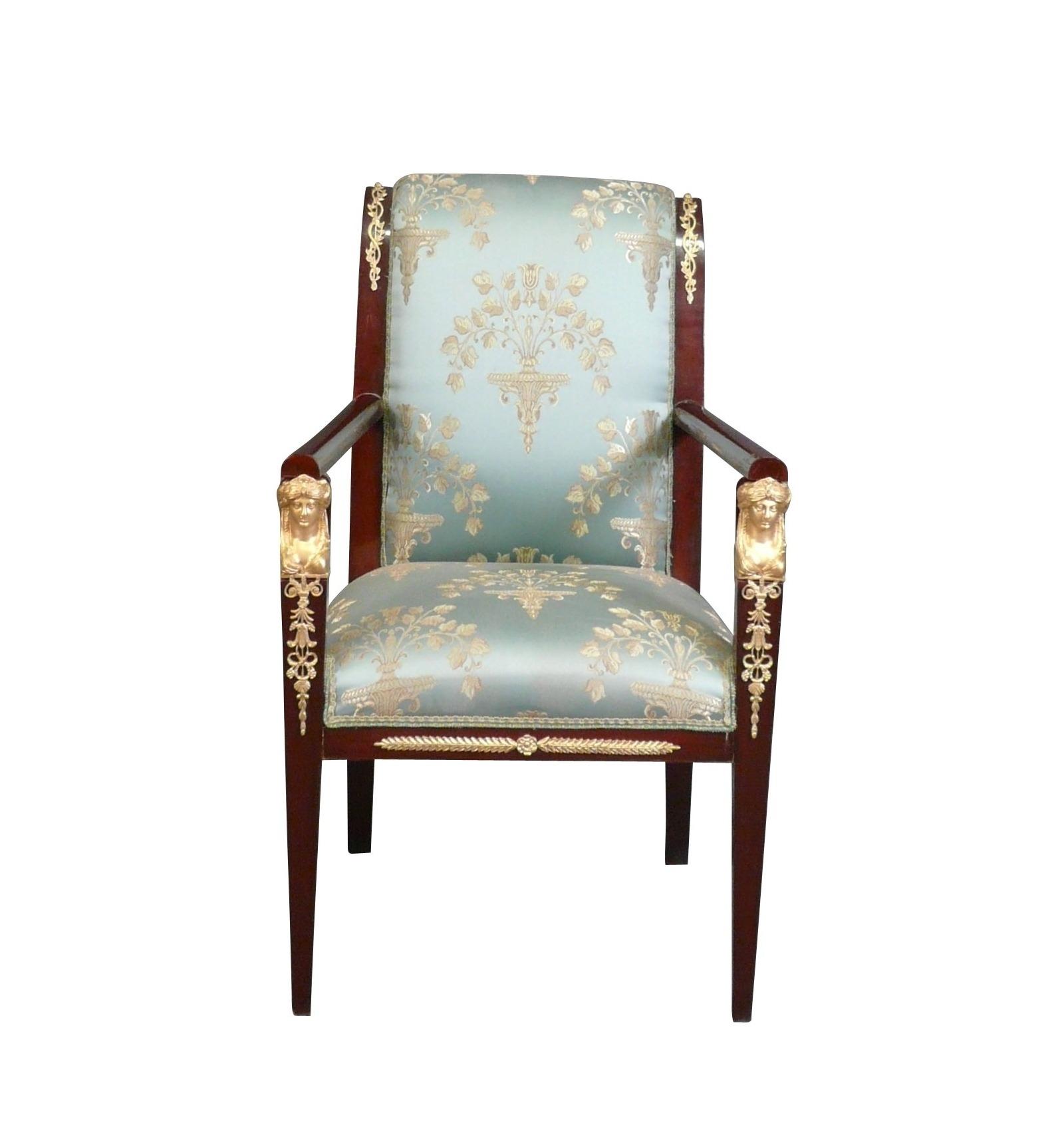 fauteuil empire rev tu d 39 un tissu satin mobilier de style. Black Bedroom Furniture Sets. Home Design Ideas
