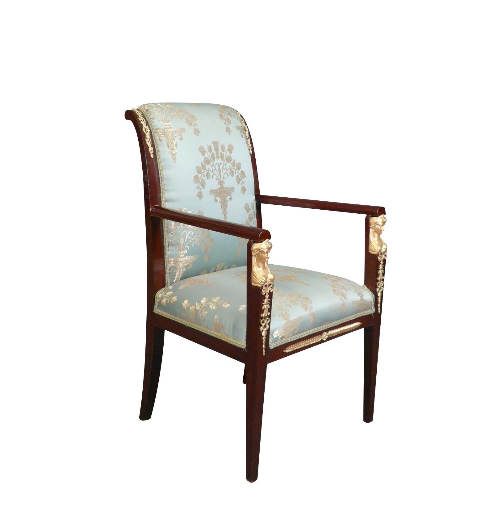 Fauteuil empire rev tu d 39 un tissu satin mobilier de style - Mobilier style empire ...