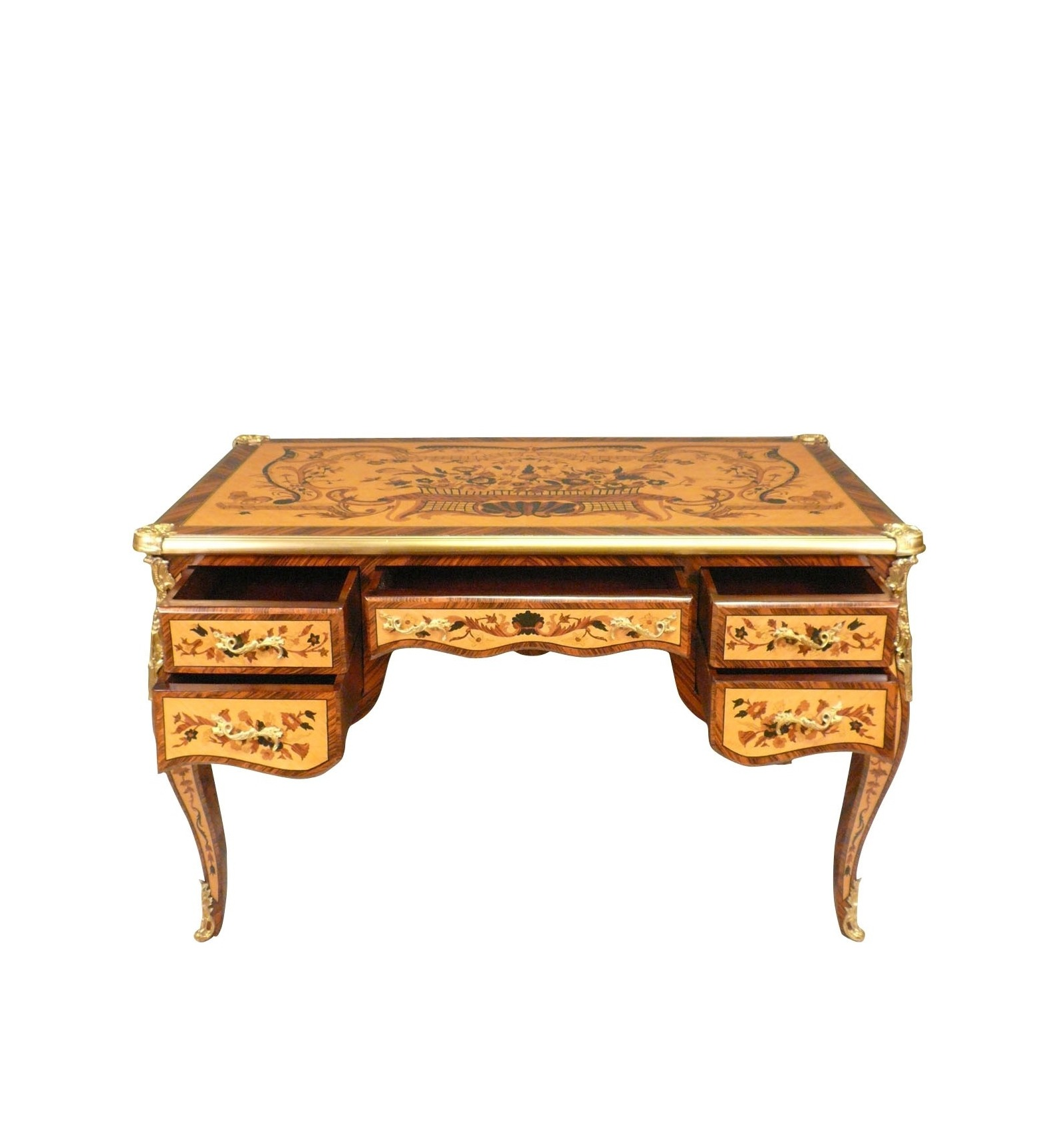 bureau louis xv en marqueterie d 39 acajou blond mobilier de style. Black Bedroom Furniture Sets. Home Design Ideas