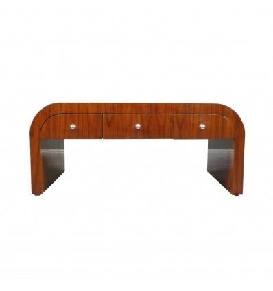 Table basse art déco en palissandre à six tiroirs