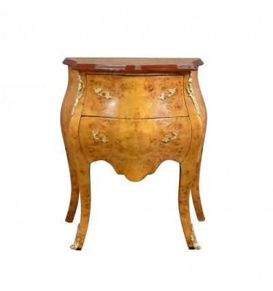 Petite commode Louis XV en loupe d'orme, meuble de rangement -