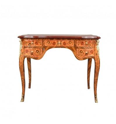 Scrivania Luigi XV con una superba intarsi floreali - Mobili in stile