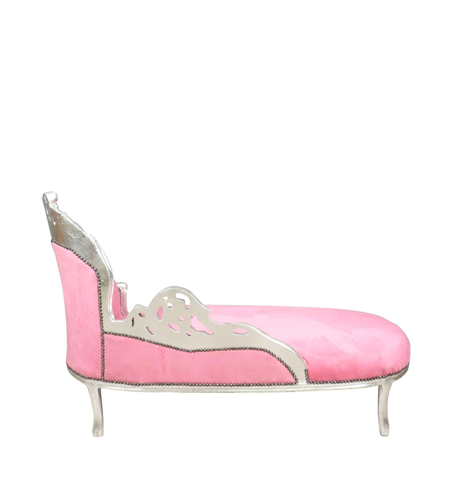 Chaise lounge baroque pink and silver armchair chair for Baroque chaise lounge sofa