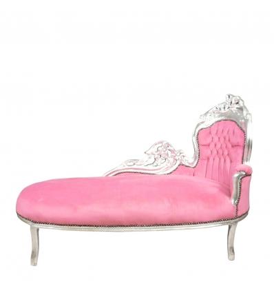 Chaise lounge barocco rosa e argento, poltrona, sedia, divano in stock -