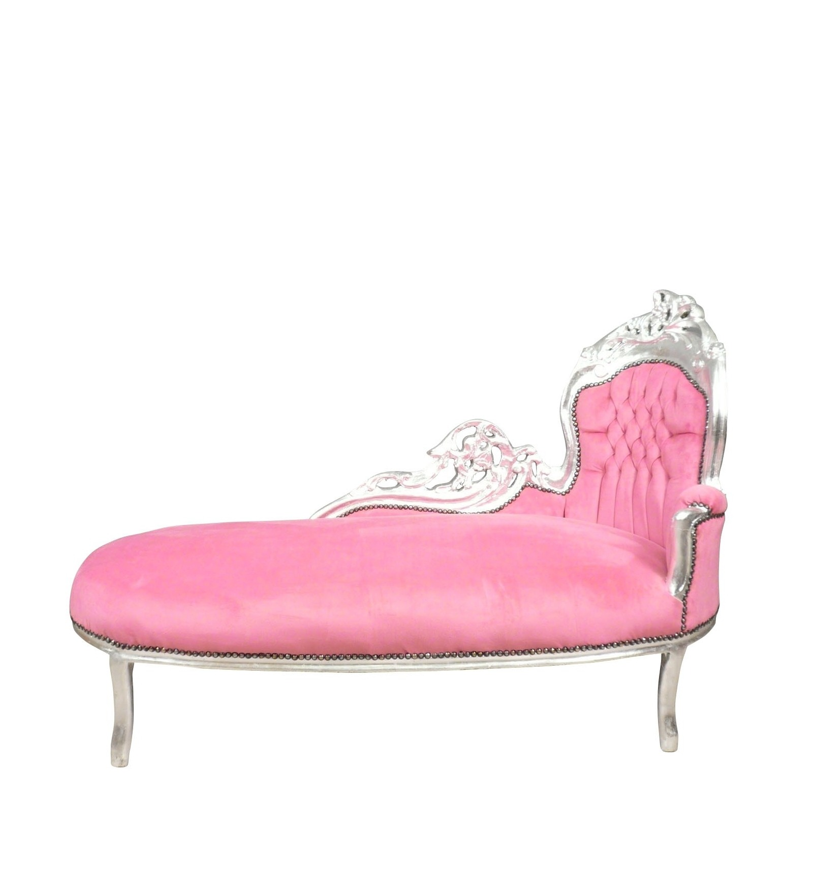 Chaise lounge baroque pink and silver armchair chair for Chaise longue de salon