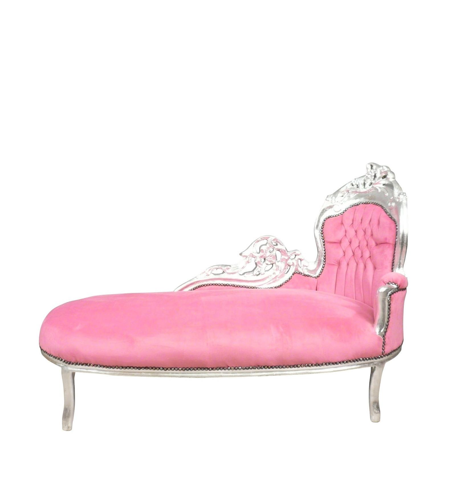 Mooi Barok Bankje.Chaise Lounge Barok Roze En Zilver