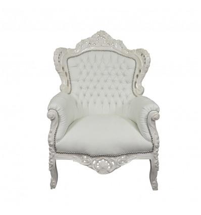Sillón barroco blanco, muebles para una decoración moderna y elegante. -