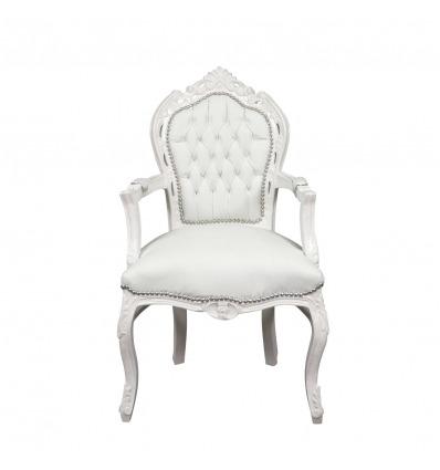 Sillón barroco blanco - Muebles de estilo clásico. -