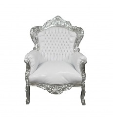 Baroque white silver wood armchair