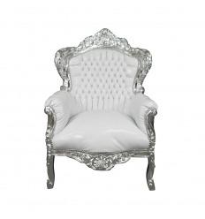 Sillón barroco blanco - plata
