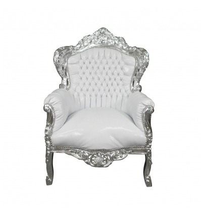 Baroque white silver wood armchair - Rococo furniture -