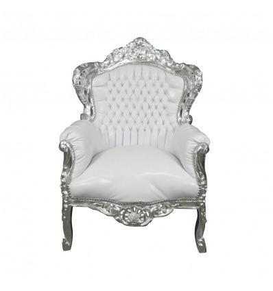 Sedia barocco in legno bianco argento