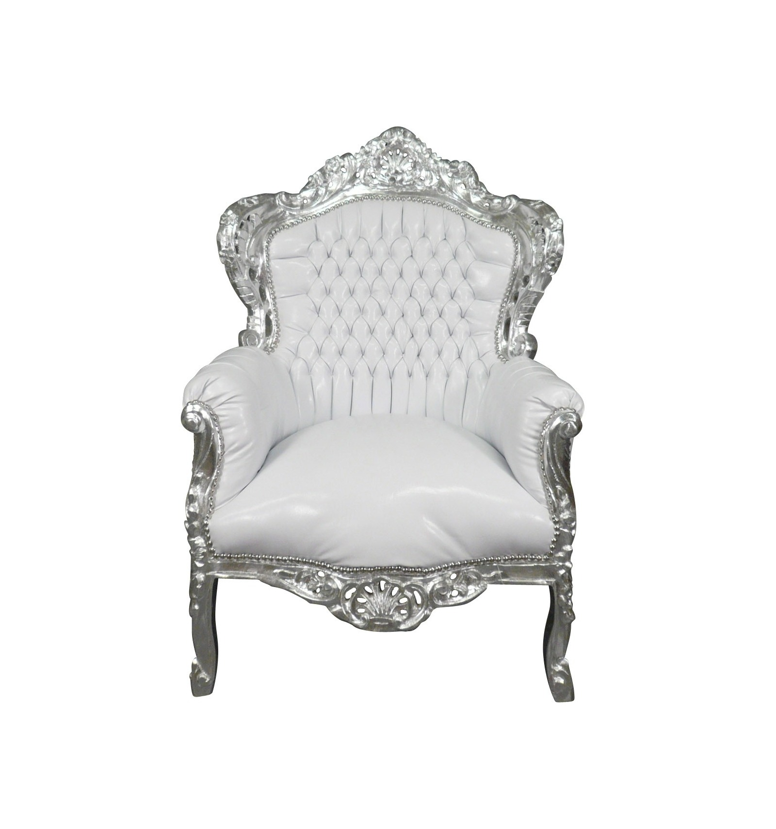 fauteuil baroque blanc argent chaises et meubles art d co. Black Bedroom Furniture Sets. Home Design Ideas
