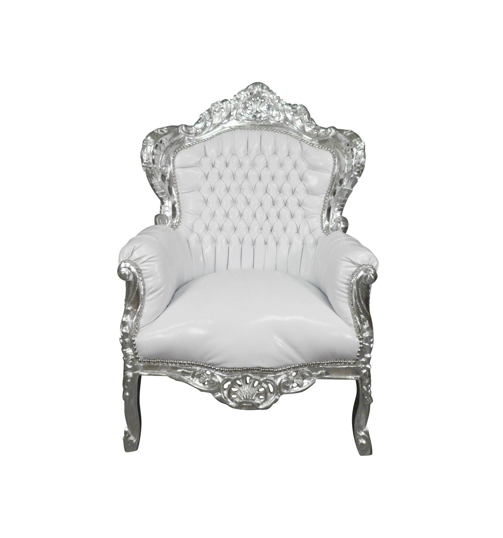 fauteuil baroque blanc bois argent - Chaise Baroque