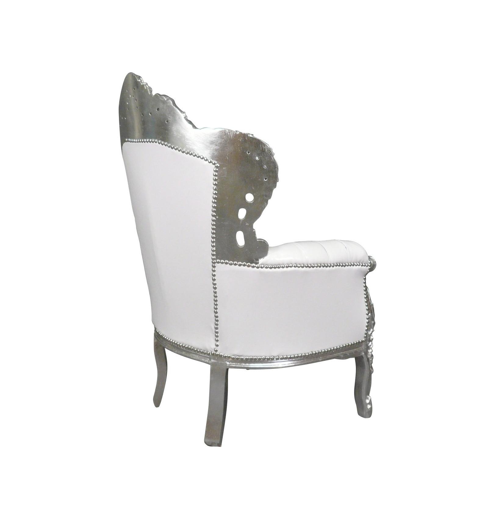 fauteuil baroque blanc argent chaises et meubles art d co. Black Bedroom Furniture Sets. Home Design Ideas