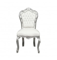 Barocker weißer und silberner Stuhl