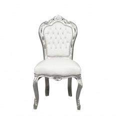 Chaise baroque blanche et argent