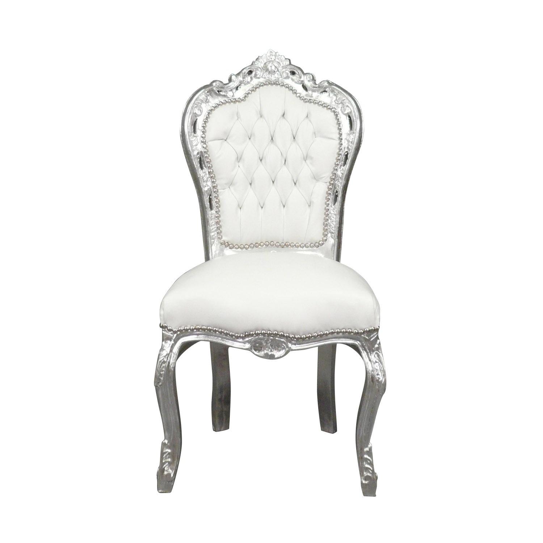 Htdeco chaise baroque banche et argent fauteuil louis xv - Chaise baroque blanche ...