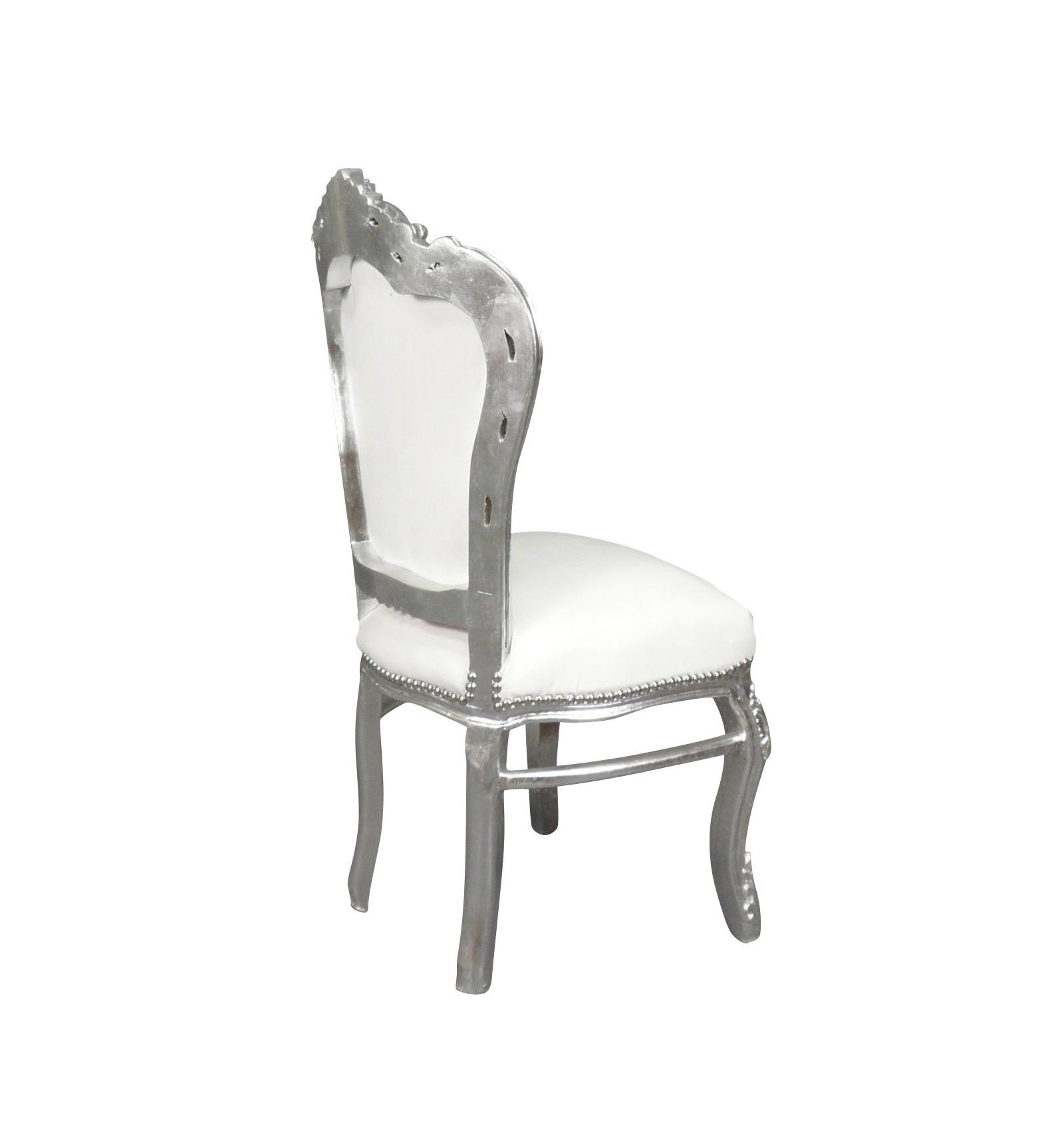 chaise baroque en tissu de couleur blanc et argent - Chaise Baroque