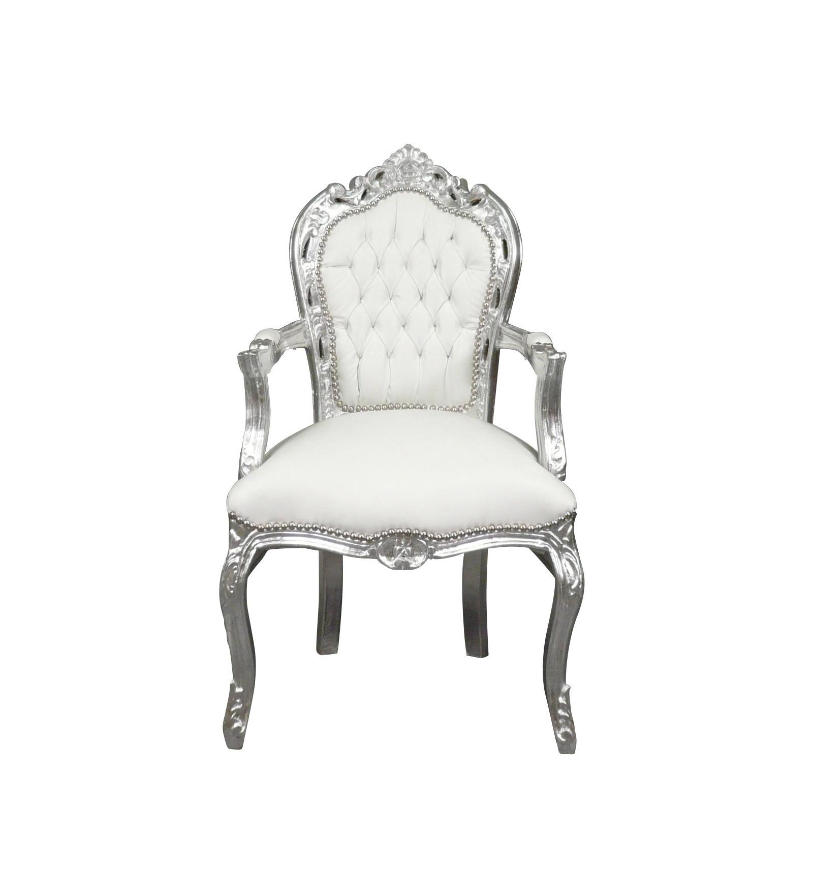 Barocker weißer und silberner Sessel Rokoko Einrichtung