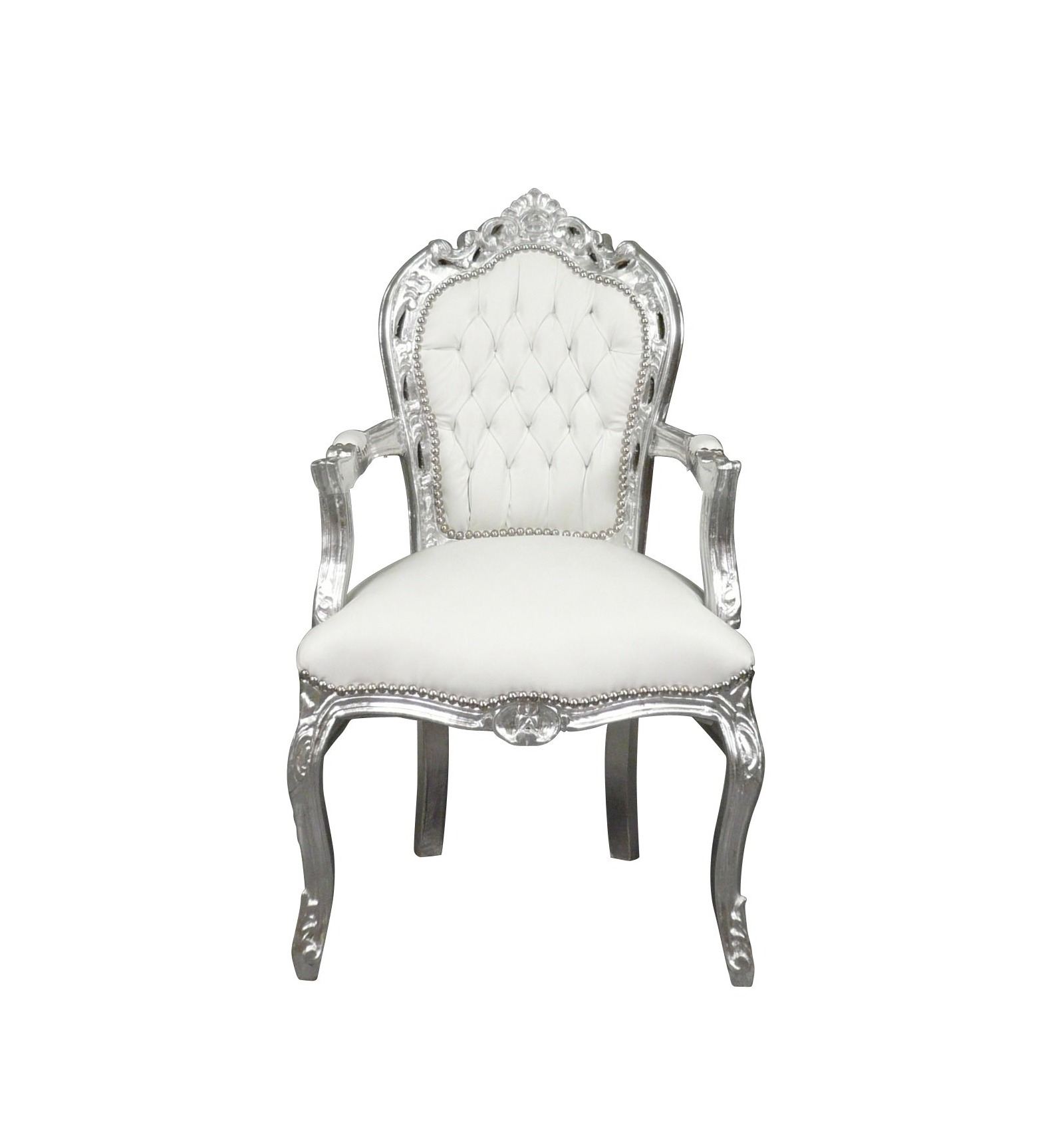 fauteuil baroque blanc et argent ameublement rococo. Black Bedroom Furniture Sets. Home Design Ideas