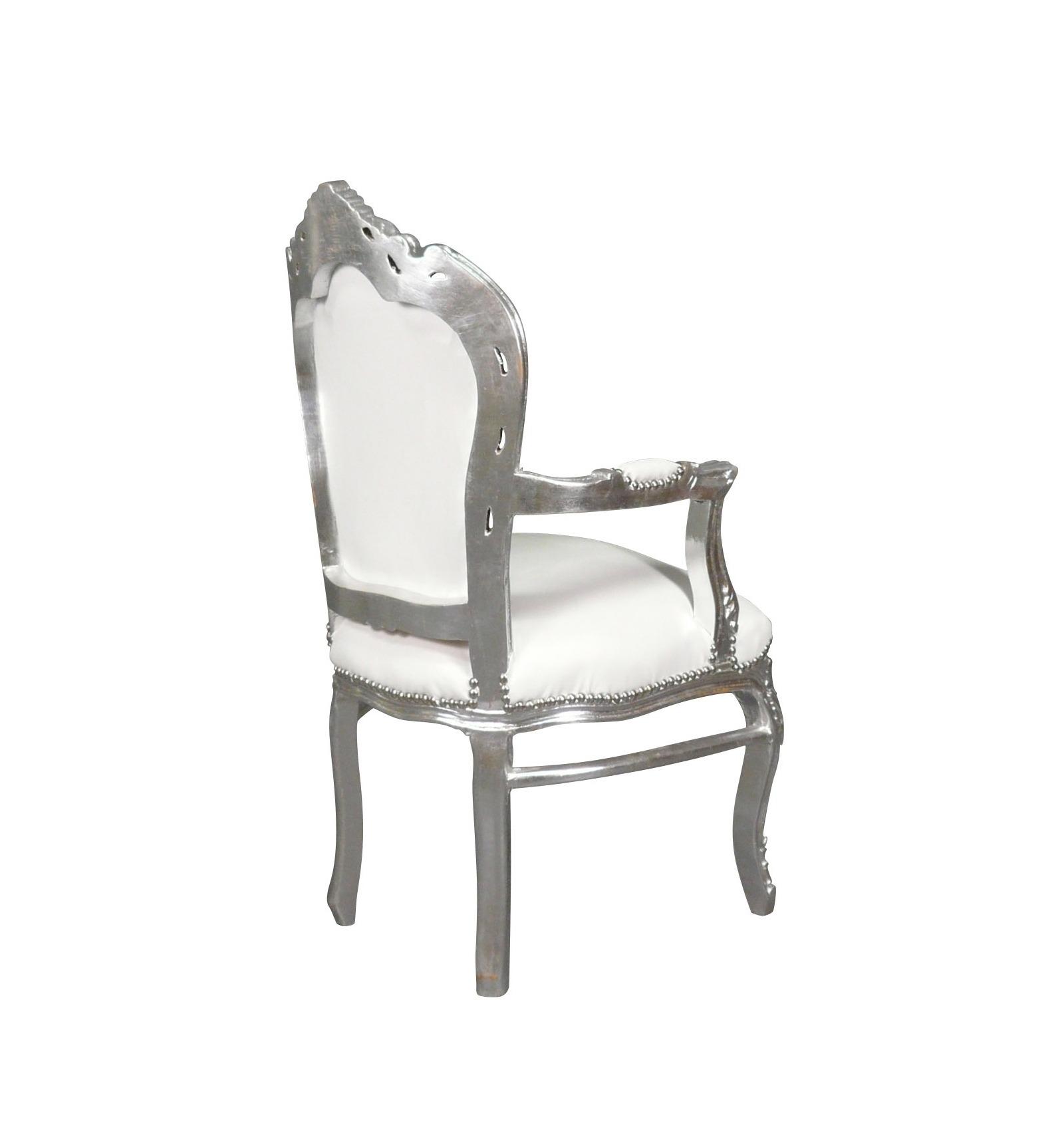 Fauteuil baroque blanc et argent chaise et poufs deco for Chaise first conforama