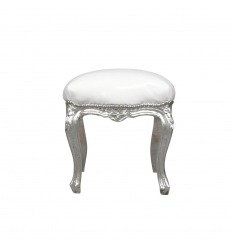 Pouffe baroque silver and white