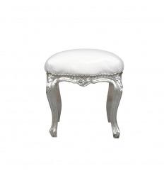 Puf barroco de plata y blanco