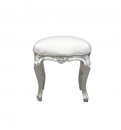 Barocker Sitzhocker in Weiß und Silber
