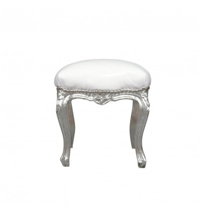 Pouf baroque blanc et argent meubles rococo for Petit banc baroque