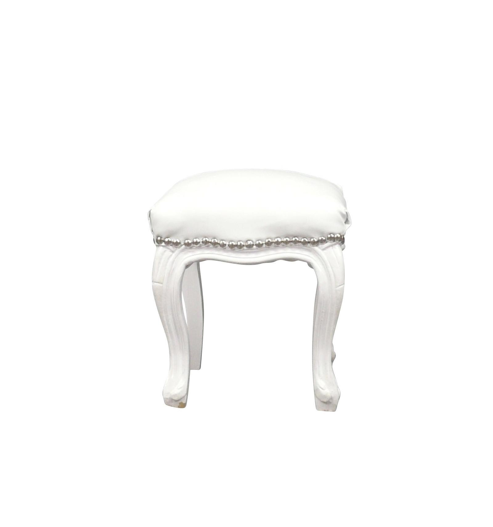 Pouf baroque blanc fauteuils et meubles de style - Meuble baroque blanc ...