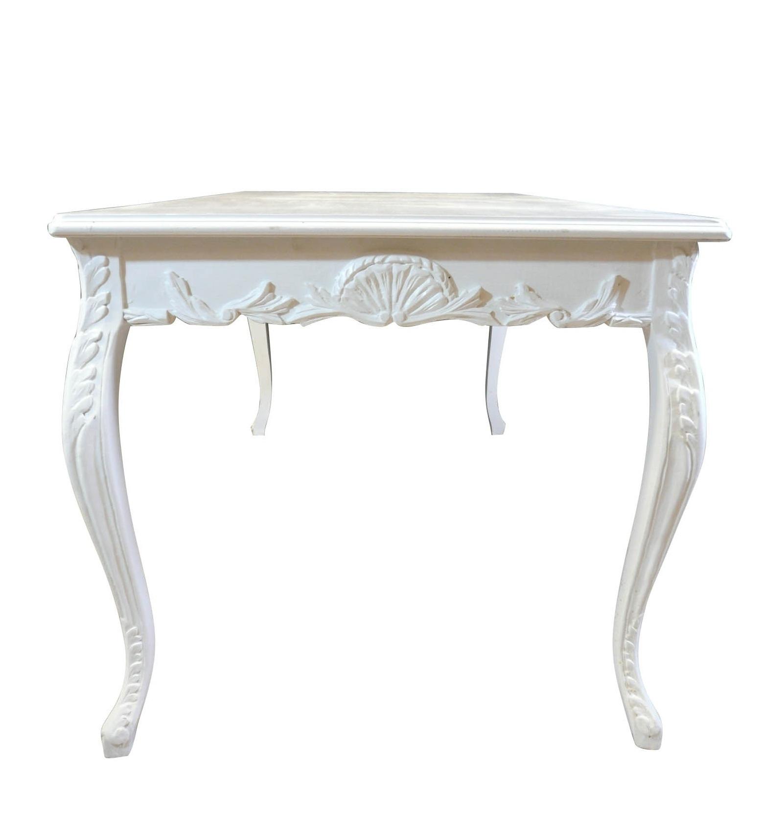 Table baroque blanche de salle manger pour 8 personnes - Table de chevet baroque blanche ...