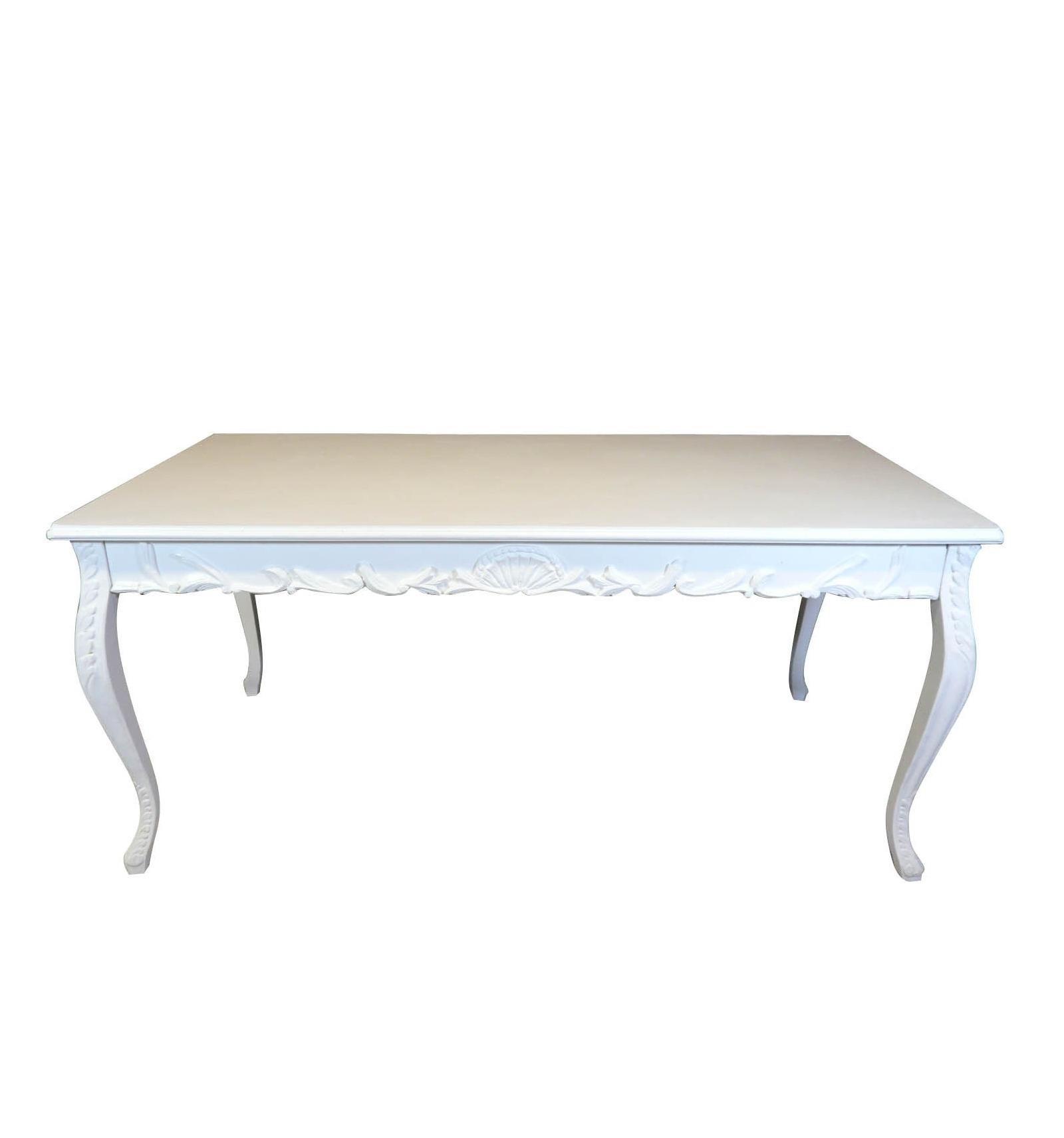 Table baroque blanche de salle manger pour 8 personnes for Table basse baroque blanche