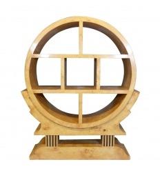 Round art deco shelf in elm magnifying glass