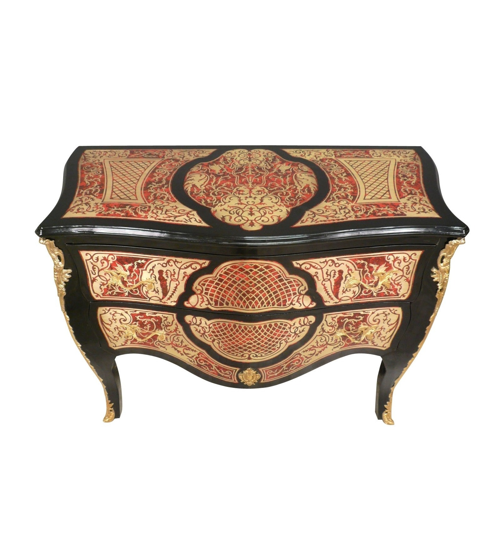 commode louis xv en marqueterie boulle mobilier de style. Black Bedroom Furniture Sets. Home Design Ideas