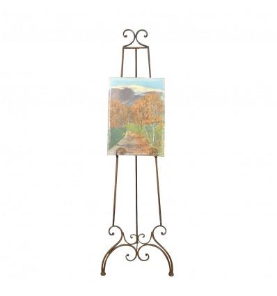 Cavalletto in ferro battuto per il pittore, pittura e tabella arte