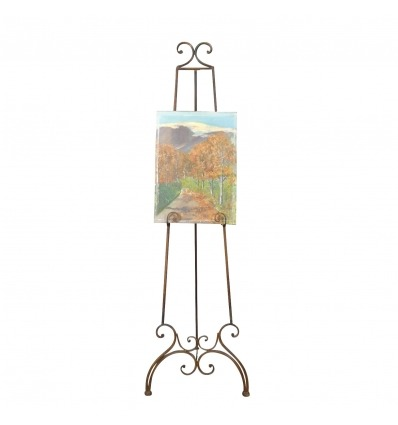 Wrought iron easel for painter, painting and art painting