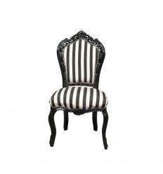 Chaise baroque avec des rayures noires et blanches